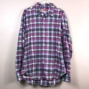 Robert graham red and purple plaid button down XXL